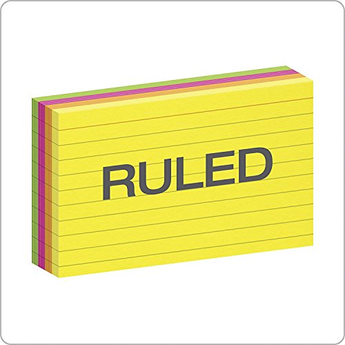 """Oxford Neon Index Cards, 3"""" x 5"""", Ruled, Assorted Colors, 100 Per Pack, Sold as 5 Pack, 500 Cards Total (40279) Photo #4"""