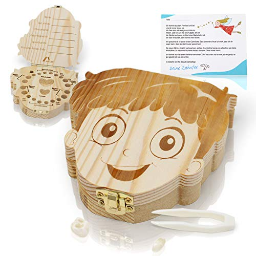 Amazy Scatolina per denti da latte con pinzetta e lettera per la fatina dei denti - Scatola in legno per i dentini del bambino (Grande | Bimba)