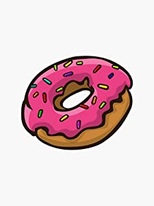 Classic Pink Doughnut - Simpsons Donuts Sticker - Sticker Graphic -Stickers for Hydroflask Water Bottles Laptop Computer Skateboard, Waterproof Decal Stickers
