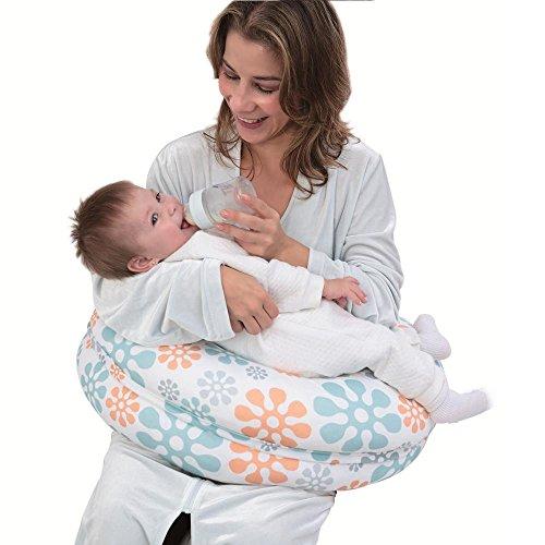 i-baby Cojín Lactancia Almohadas de Lactancia 3 EN 1 para Embarazo y Bebé con Cubierta de Algodón Lavable Extraíble Almohada Maternal de Apoyo para Cuerpo + Almohada para Brazo (Las flores)