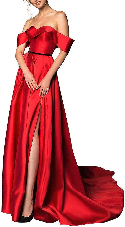 MARSEN Off Shoulder Split Prom Dresses Long Beaded Satin Ball Gowns for Women Formal