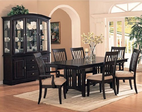 Hot Sale 7pc Cappuccino Finish w/Birch Veneers Dining Table & Chairs Set