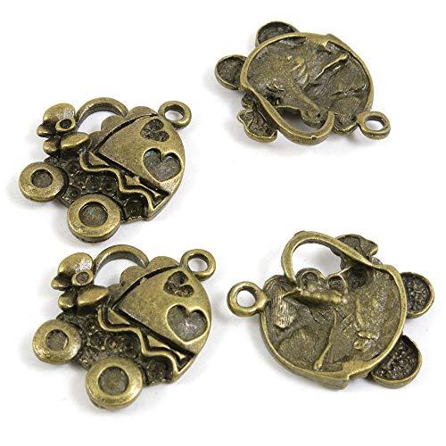 Antieke Bronzen Toon Sieraden Bedels 358105 Baby Carriage Kinderwagen Craft Art Maken Crafting Kralen Antiek brons
