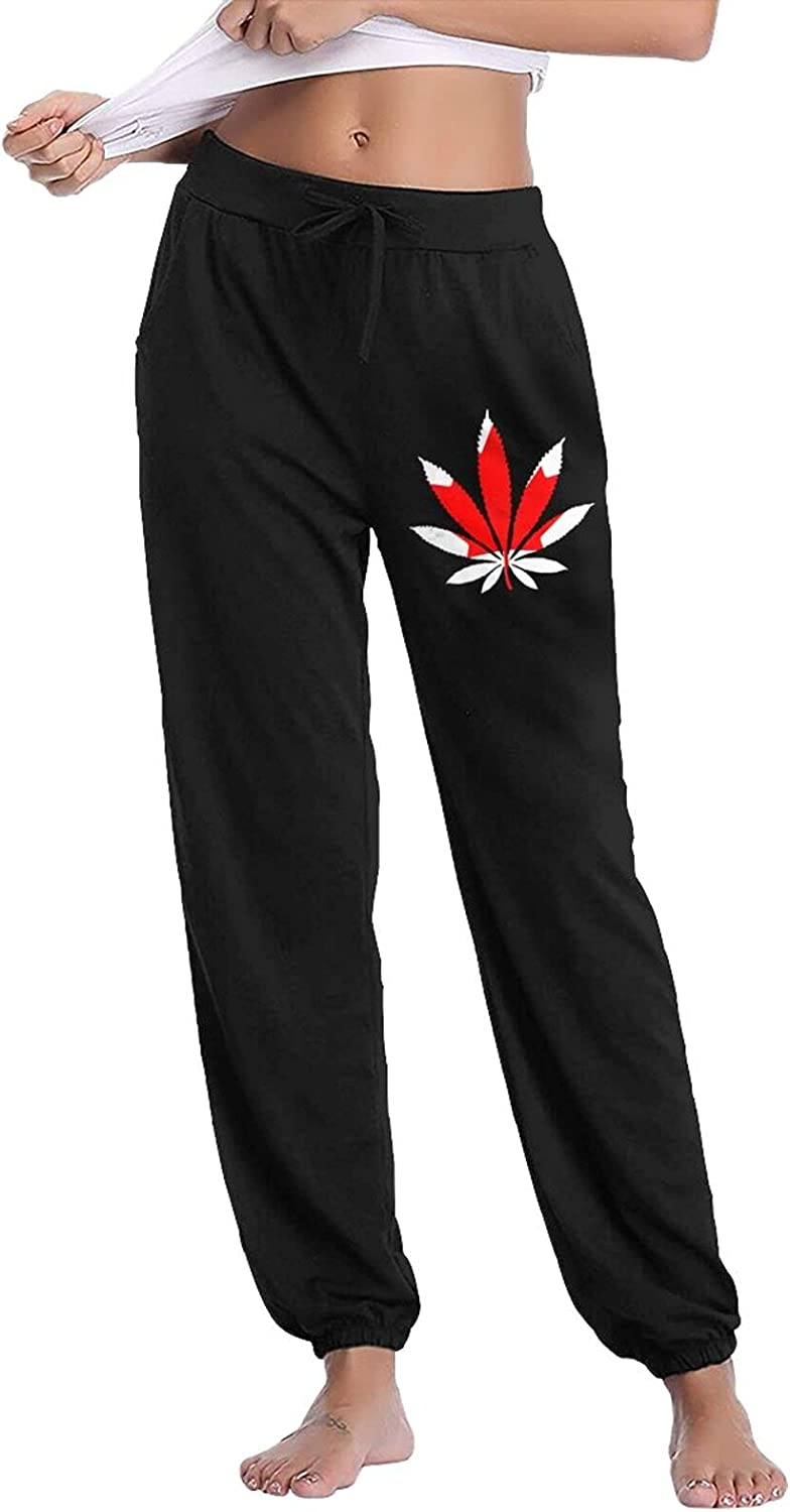 Canada Flag Weed Leaf Ladies' Jogger OFFicial shop Bla Casual Sweatpants Raleigh Mall Pants