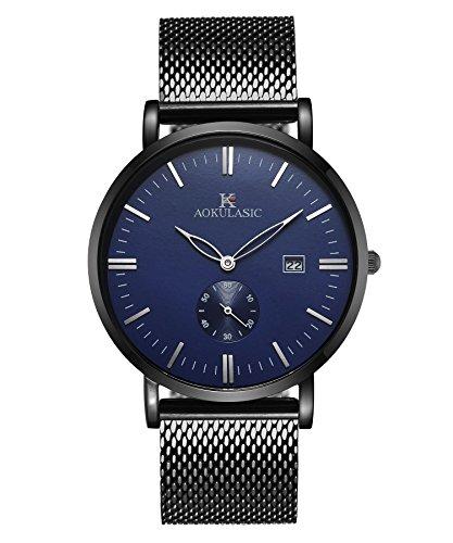 AOKULASIC Herren Fashion Datum Analog Quarz Wasserdicht Armbanduhr mit besonderem zweite Sub Zifferblatt (Schwarz blau)