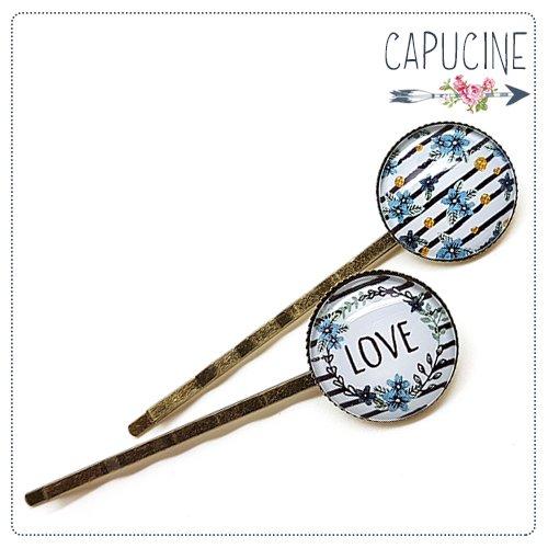 2 pinces bronze cabochons verre fleurs - pinces cheveux cabochon love - Barrettes cheveux illustrées - Love, Fleurs et Pépites