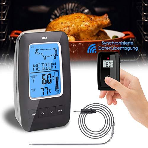 hausmelo Fleischthermometer Funk Bratenthermometer Küchenthermometer Haushaltsthermometer mit Langer Sonde/Digital LCD Display/Alarmfunktion, Grillthermometer für BBQ, Braten, Kochen, Baby-Ernährung