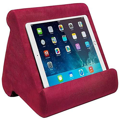 FANIER Cuscino Supporto per Tablet, Multi-Angolo Supporto Tablet Universale in Spugna Compatibile con Tablet, iPad, per lettori di libri elettronici, smartphone, magazine (Vin rosso)