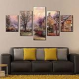 Cuadros Modernos Impresión de Imagen Digitalizada,Hermosa vista del pueblo Cuadro En Lienzo 5 piezas de arte,para decoración Moderna para Oficina el hogar,regalo 150x80 cm(Sin Marco)