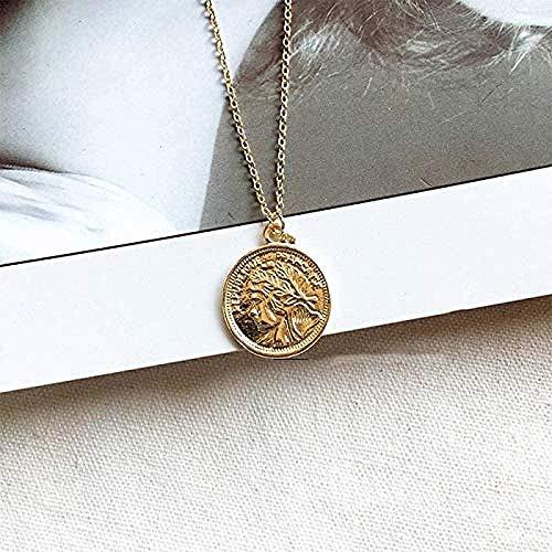 AKDLKXTS Collar Vintage Moneda de Oro Tallada Collar Romano para Mujer Collares Pendientes Bohemios Joyería Boho Collares llamativos Longitud 45 cm