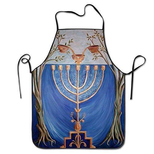 GAMSJM Personalized Kitchen Aprons Hanukkah Candle Chanukah Overhand Twill Unisex Adult Kids Children Durable Cooking Baking Kitchen Restaurant Chef Apron Pinafore with Neck Strap One Size