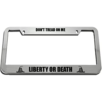 Speedy Pros License Plate Frame Dont Tread on Me Liberty Or Death Zinc Weatherproof Car Accessories Chrome 2 Holes 1 Frame