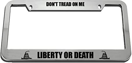Speedy Pros License Plate Frame Don't Tread on Me Liberty Or Death Zinc Weatherproof Car Accessories Chrome 2 Holes 1 Frame