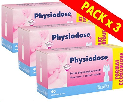 Physiodose Physiological Serum - 3 Boxes of 40 Single Doses by Gilbert Laboratoires