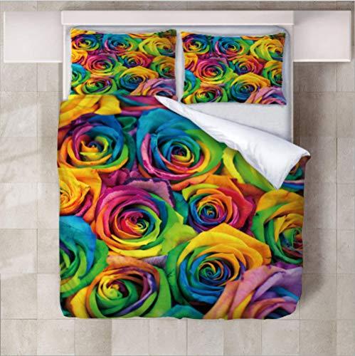 Color de Rosa (Funda nórdica + Funda de Almohada) Ropa de Cama para Adultos Ropa de Cama Juegos de Cama 140cm x 200cm