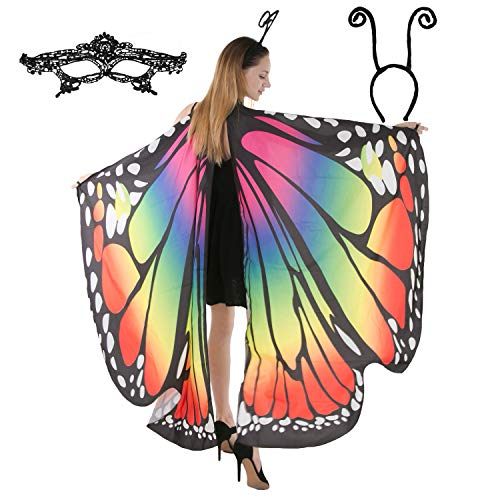 Butterfly Wing Cape Shawl with Lace Mask and Black Velvet Antenna Headband Adult Women Halloween Costume Accessory (Rainbow)