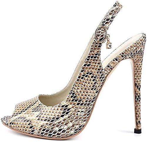 HOESCZS 2018 Estampado de Serpiente al por Mayor más el Tamaño 34-42 Sandalias de Las mujeres zapatos Correa de Hebilla Trasera Tacones Altos zapatos de Fiesta mujer Sandalia