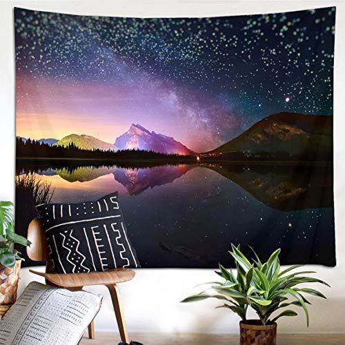 Tapeçaria de parede HVEST céu estrelado, tapeçaria, estrelas, montanha mágica, lago, floresta, lago à noite, tapeçarias para quarto, sala de estar, dormitório, festa, 203 cm de largura x 152 cm de altura