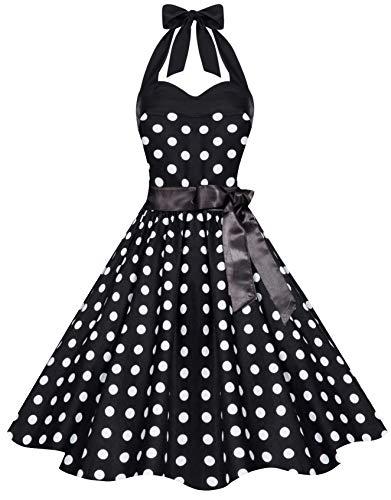 Zarlena Damen 50er Retro Rockabilly Pola Dots Petticoat Neckholder Kleid Schwarz mit weissen Dots X-Large 4250647215121