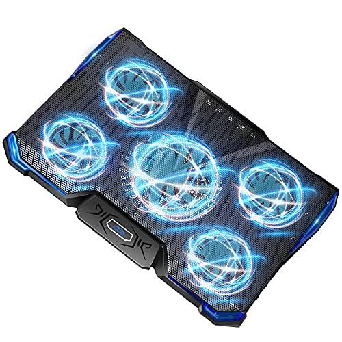ノートパソコン 冷却パッド 冷却台 ノートPCクーラー 5つ冷却ファン 7段階調整 USB 2ポート 超静音 LED搭載 風量調節 17インチ型まで対応
