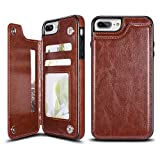 UEEBAI Case for iPhone 6 Plus 6S Plus, Luxury PU Leather Case with [Two Magnetic Clasp] [Card Slots] Stand Function Practical Soft TPU Case Back Wallet Flip Cover for iPhone 6 Plus/6S Plus - Brown