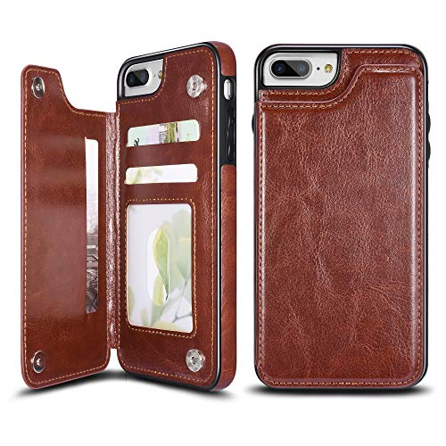 UEEBAI Case for iPhone 6 6S, Luxury PU Leather Case with [Two Magnetic Clasp] [Card Slots] Stand Function Durable Shockproof Soft TPU Case Back Wallet Cover for iPhone 6/6S - Brown