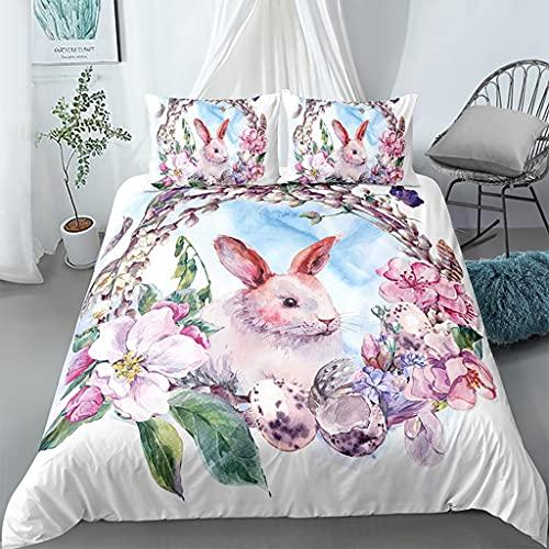 WhjfLins Juego de ropa de cama 3D de lujo, microfibra suave y transpirable, 1 funda nórdica + 2 fundas de almohada, para cama individual/doble, diseño de conejo (2,200 x 200 + 2 x 50 x 75 cm)