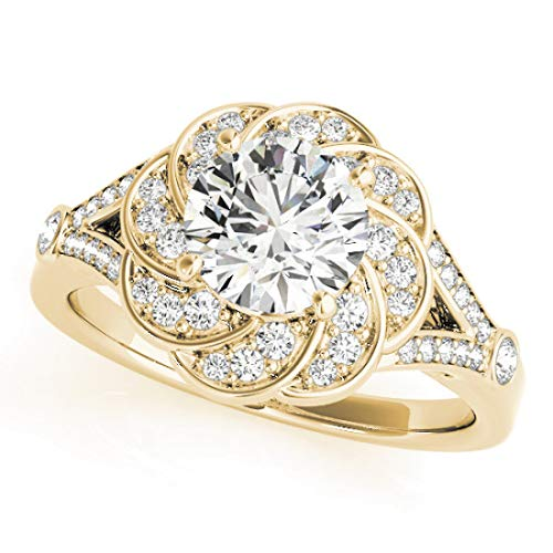 Bridal Ring Set with 1.35 cttw (1.00 Carat Center Stone) of Natural Round Shape Diamonds available in 14K White, Yellow or Rose Gold. Free Designer Gift Box. Free Certificate.