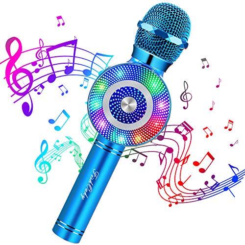 FISHOAKY Microfono Karaoke, 4.1 Wireless Bambini Karaoke Bluetooth, Portatile Karaoke Microfono con Altoparlante per Cantare, Funzione Eco, Android iOS (Blu)