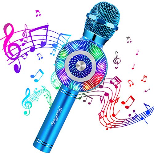 Micrófono Karaoke Bluetooth, FISHOAKY 4 en1 Microfono Inalámbrico Altavoces con Luces LED, Portátil Karaoke para Niños, Función de Eco, Compatible con iOS/Android Teléfono