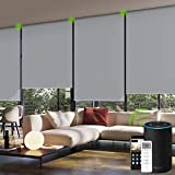 Yoolax Motorized Smart Blind for Window with Remote Control, Automatic Blackout Roller Shade Compatible with Alexa, Child Safety Rechargeable Battery Blind with Valance (Vinyl-Light Grey)