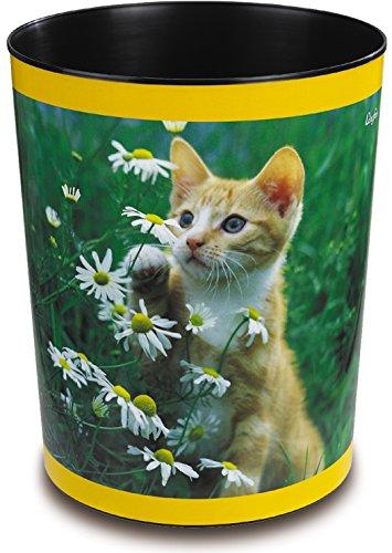 Läufer 26653 Papierkorb Katze mit Blume, 13 Liter Mülleimer, perfekt für das Kinderzimmer, rund, stabiler Kunststoff, verschiedene Motive