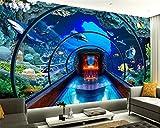 TOORY mural Papel Tapiz 3D Acuario Mundial Submarino Murales Estéreo 3D Fondo De TV Calcomanías De Pared para Sala De Estar-400Cmx280Cm(Lxa)