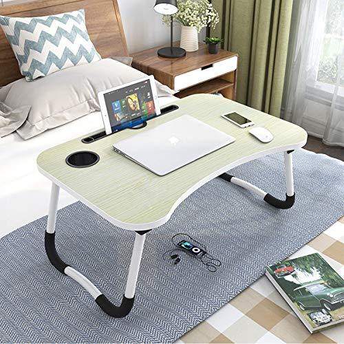 Astory Laptop Bett Tisch, tragbare Lap Desk Notebook Ständer Lesehalter Frühstückstablett mit faltbaren Beinen & Cup Slot zum Essen Frühstück, Lesen, Film gucken (White Maple)