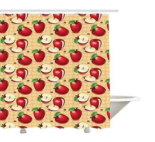 Yeuss Rideau de Douche Apple,Style de Bande dessinée Différentes Pommes fraîches,mûres,saisonnières,Nourriture,Manger,sain,végétalien,Tissu,Salle de Bain,décor,Ensemble,Crochets,Blanc Rouge Vert