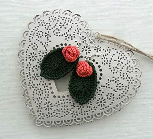 pendientes boho flor y hoja, pendientes rosa de color coral de ganchillo