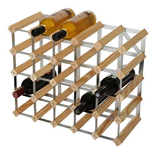 RTA - Botellero Tradicional para 25 Botellas de Vino (Madera de Pino Natural)