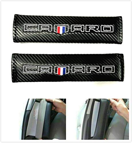 Tonet Pair Carbon Fiber Custom Camaro Flag RS SS Emblem Seat Belt Cover Shoulder Pads Cushion for Chevy