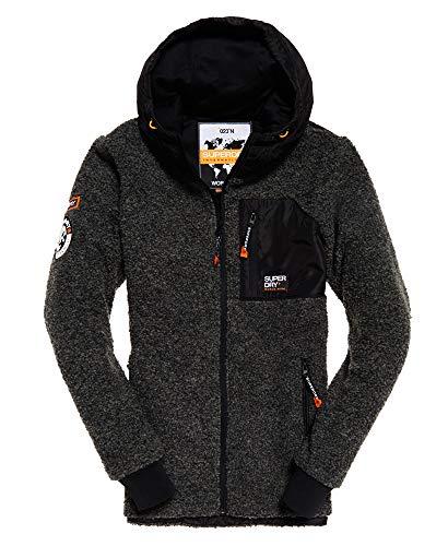 Superdry Herren Mountain Sherpa Ziphood Pullover, Grau (Dark Grey Marl 70q), Medium