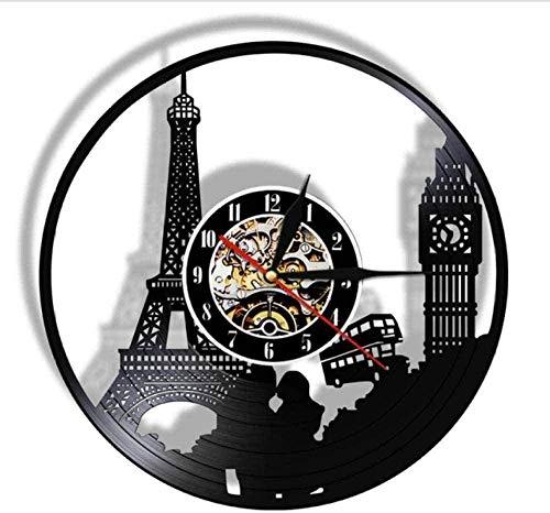 Reloj de Pared Paris London Travel Themed Vinilo Registro Reloj de Pared Torre Big Ben Tower Viaje único Hito Arte de la Pared Reloj Retro Reloj