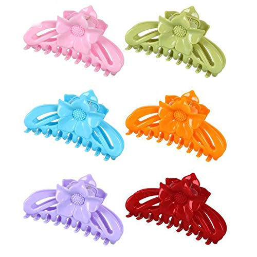 Lot de 6 pinces à cheveux en plastique de couleur unie - Pour femme - Convient pour la vie quotidienne, la cuisine, le bain, le ménage, la lessive, etc.