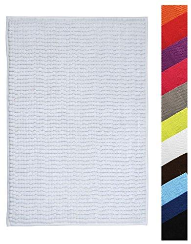 MSV Badteppich Badvorleger Duschvorleger Chenille Hochflor Badematte 40x60 cm – Weiß