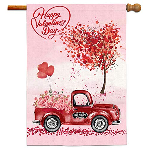 Bonsai Tree Valentine Flags 28 x 40 Double Sided, Happy Valentines Burlap Garden Flag, Roses on The Red Car Love Tree Yard Banners Valentines Day Home Decorations Gifts