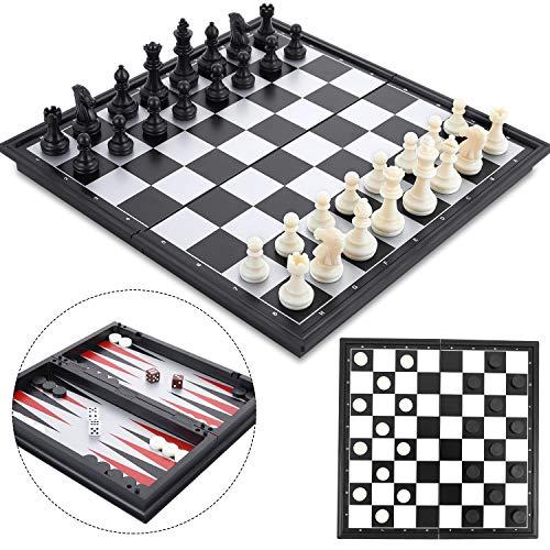 Peradix Schachspiel Magnetisch Dame Spiel Backgammon 3-in-1, Schach Magnetischem Reise Faltbarem Schachbrett für Familie Geschenk Reisen