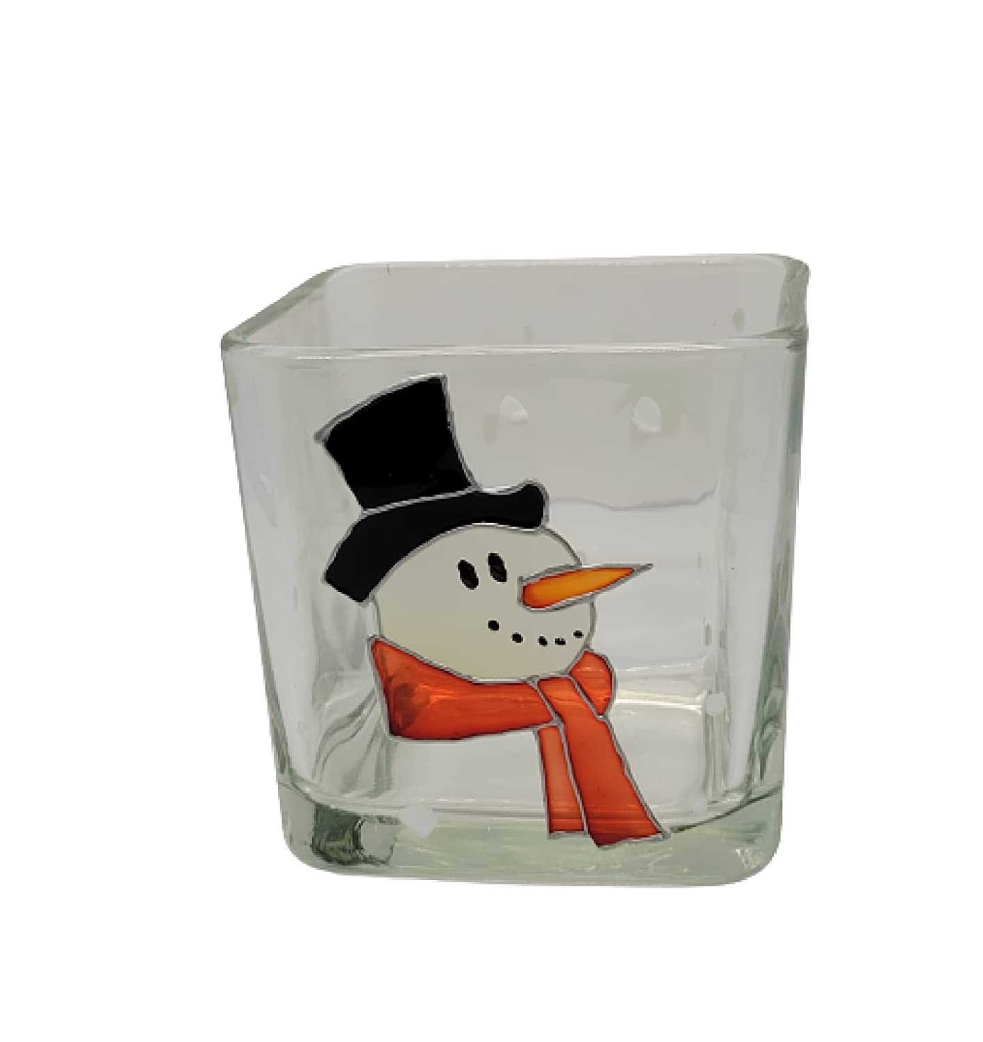 Snowman Hand Painted Stained 40% OFF Cheap Sale Glass Christma Square Candle Holder Max 79% OFF