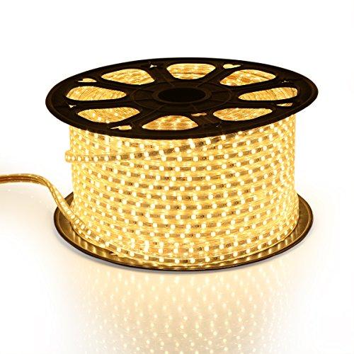 GreenSun LED Lighting 20m Bande de lumière Blanc chaud flexible Tube de lumière étanche 5050SMD Guirlande lumineuse pour chambre à coucher, centres commerciaux, décor Noël [Classe énergétique A +]