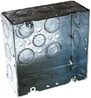 Hubbell-Raco 8257 2-1/8-Inch Deep, 1/2-Inch and 3/4-Inch Side Knockouts Welded 4-11/16-Inch Square Box