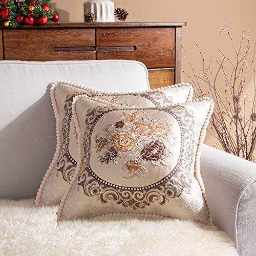 Gothic Rockabilly Pack of 2 Beige Luxury Embroidered Woven Floral Country Farmhouse Square Cushion Cover 20 x 20