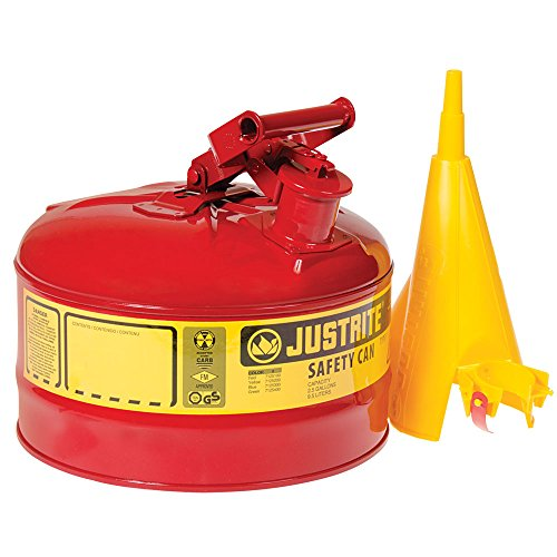Justrite Type I Safety Can, for Gasoline Storage, Red (2.5 Gallon)