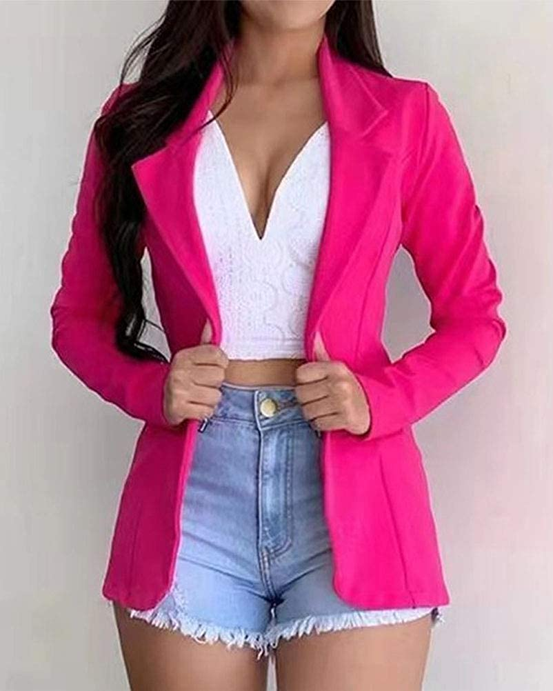 ORANDESIGNE Women Ladies Casual Loose Long Sleeve Open Front Blazer Work Suit Office Jacket Coat